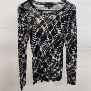Vintage mesh black and white long sleeve top